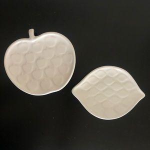 Jonathan Adler White Fruit Plates Apple Lemon